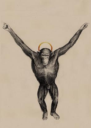 Cadáver mono crucificado